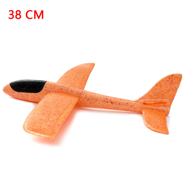 Outdoor Hand Throwing Plane 38cm Flying Launch Sports Glider Aircraft Model Foam Gliding Boys Fun Game Figure Toys for Children