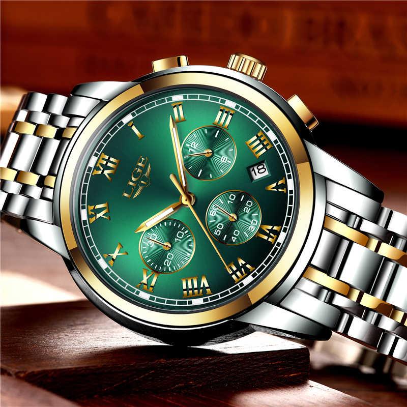 2019 LIGE altın çelik izle erkekler saatler kuvars kol saati erkek marka lüks İş İzle erkekler Casual stil Relogio Masculino