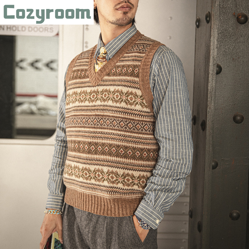Cozyroom Fair Isle Patten Wool Waistcoat Winter Men's Knitted Vest Multicolor