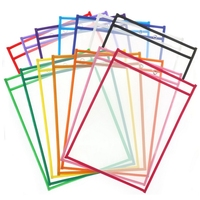 Reusable Dry Erase Pocket Sleeves with Marker Holder Assorted Colors,Adult and Children. Use for School,Work,Teaching,Playing,D