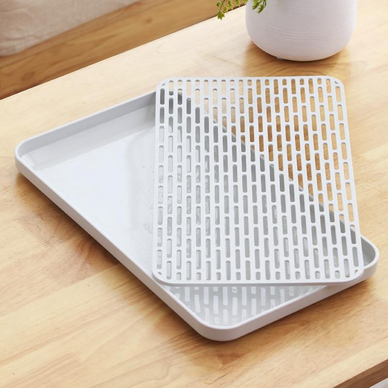 Двухслойная Стоковая стойка, пластиковая сушилка на раковину для посуды, поднос для хранения фруктов, Сервировочные лотки, декор для посуды, кухонный Органайзер-4