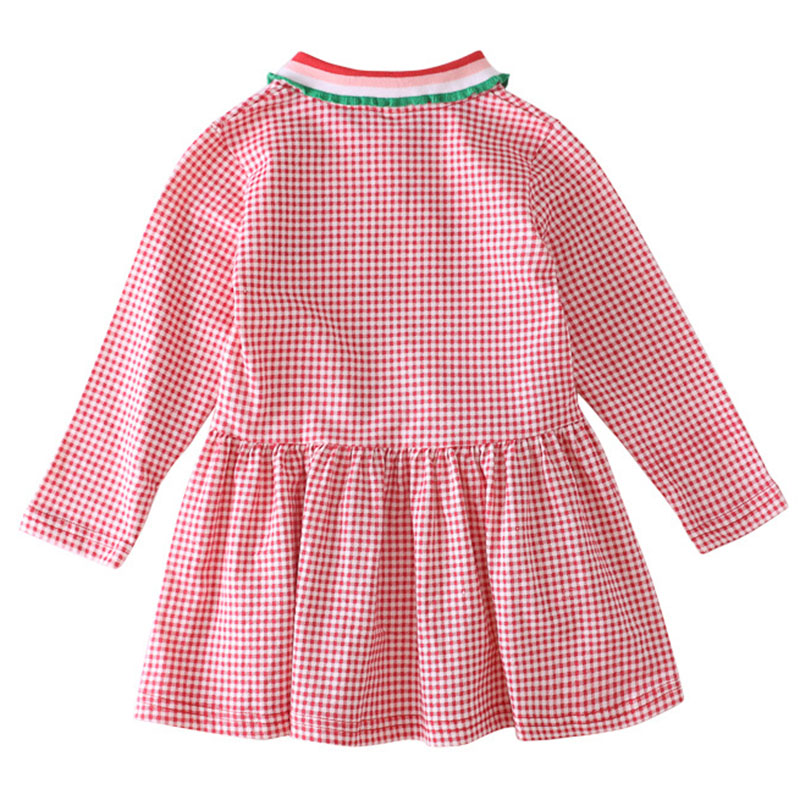 Bongawan Girls Dresses Plaid Cotton Lapel Children Clothing Embroidery Full Sleeve Princess Dress For Birthday 2 8 Years in Dresses from Mother Kids