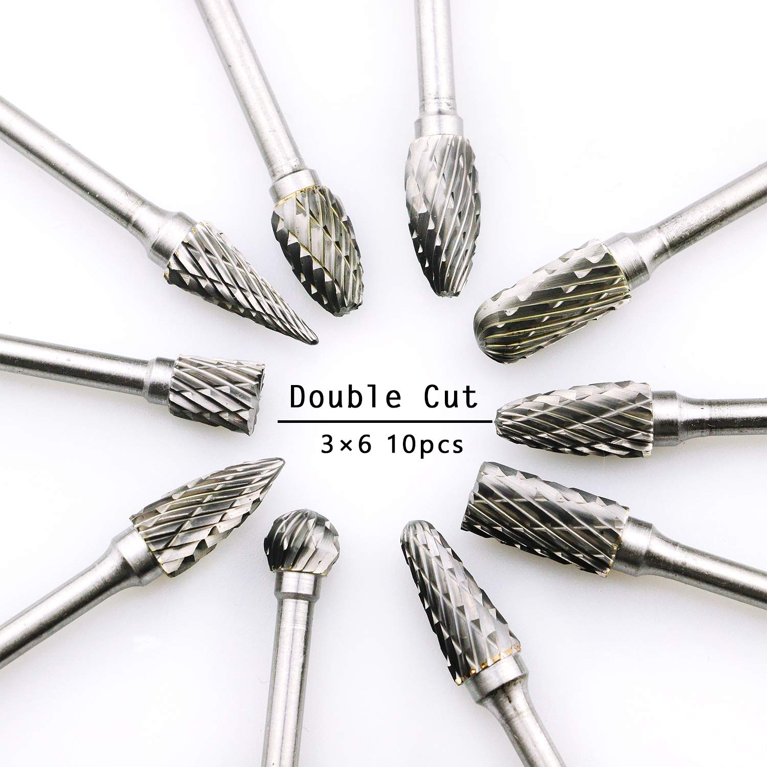 10pcs 1//8'' 3mm Shank Bit Set Tungsten Carbide Rotary Point Burr Die Grinder US