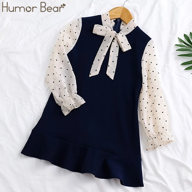Humor Bear Girls Dresses Spring Autumn Kids Clothes Girls Stitching Princess Dress Children Clothing Fake 2PCS  Birthday Dress 1