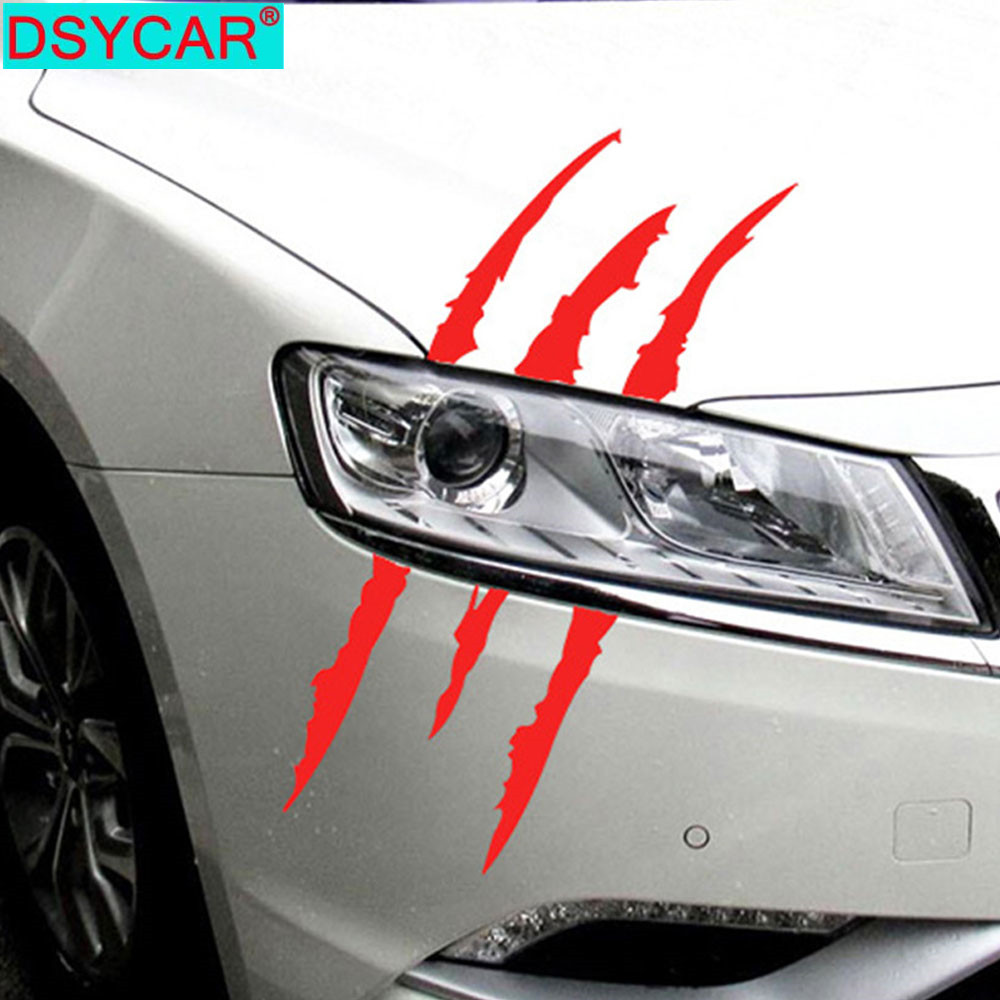 DSYCAR 1Pcs Claw Marks Car Sticker Decals Dinosaur Monster Raptor Scratches Jurassic Park Decal Stickers Decor Car Accessories
