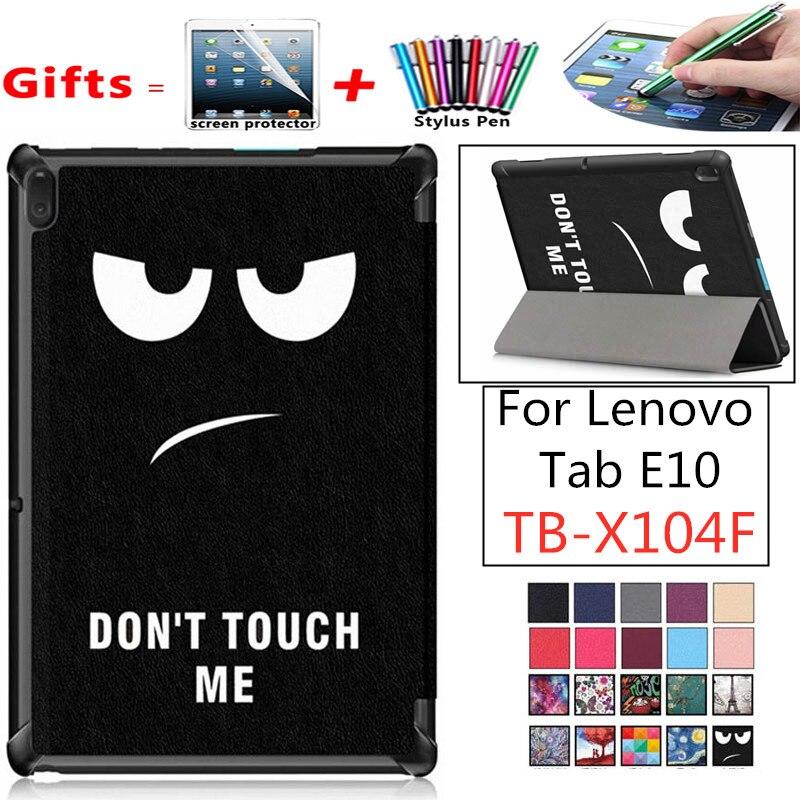 For Lenovo Tab E10 TB-X104F Case Tri-Fold Flip Stand Magnetic Cover Tab E10 E 10 X104 X104f Tablet 2019 TabE10 Slim Shell Cover
