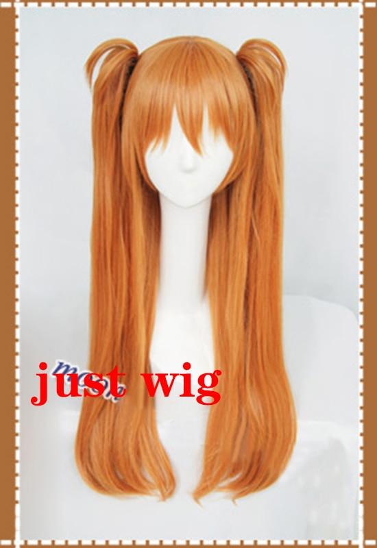 Высокое качество волос ЕВА АСУКА Langley Soryu Длинные оранжевые Жаростойкие косплей костюм парик с 2 конский хвост зажимы+ головной убор - Цвет: Just Wig