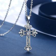 EUDORA Sterling Silver Vintage Cross Pendant Necklace Crystal Clear CZ Cross Necklaces For Women Silver Jewelry Party gift D426