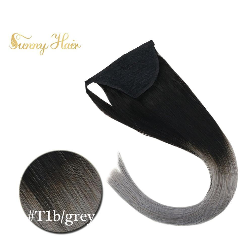 VeSunny Ponytail Extensions Wrap Around Magic Tape 100% Real Human Hair Ombre Natural Black To BlueGrey 70 Gram 14-22 Inches