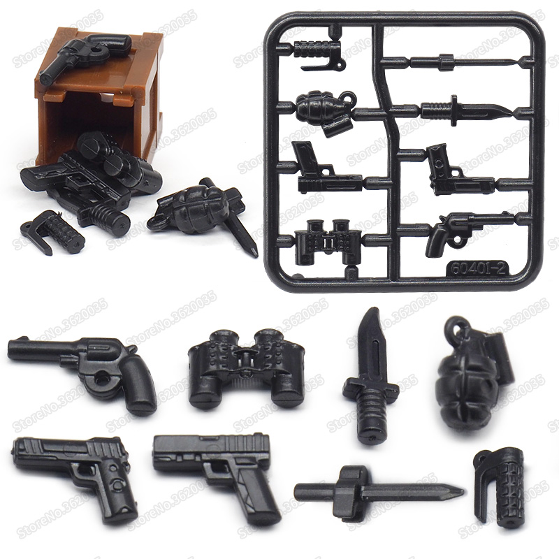 Legoinglys Figures American Military Mini Pistol Building Block Army Equipment Diy WW2 War Weapons Model Moc Christmas Gift Toys