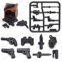 Legoinglys figuras militar americano mini pistola bloco de construção equipamento do exército diy ww2 armas guerra modelo moc presente natal brinquedos