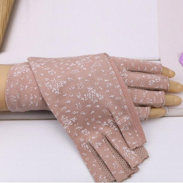 Women's Cotton Summer Gloves Fingerless Half Finger Anti-Skid Sun Protection Printing Thin Dot Short Driving Gloves 6