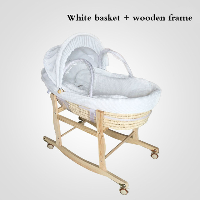 2 In 1 Newborn Baby Portable Basket Infant Crib Car Sleeping Basket Baby Bed 0-16month