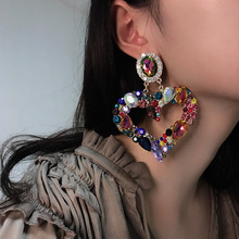 Luxury Spark Colorful CZ Crystal Big Heart Earrings 2020 New Design Hollow Gold Color Metal Rainbow Drop Earrings Party Jewelry two tone hollow face design drop earrings