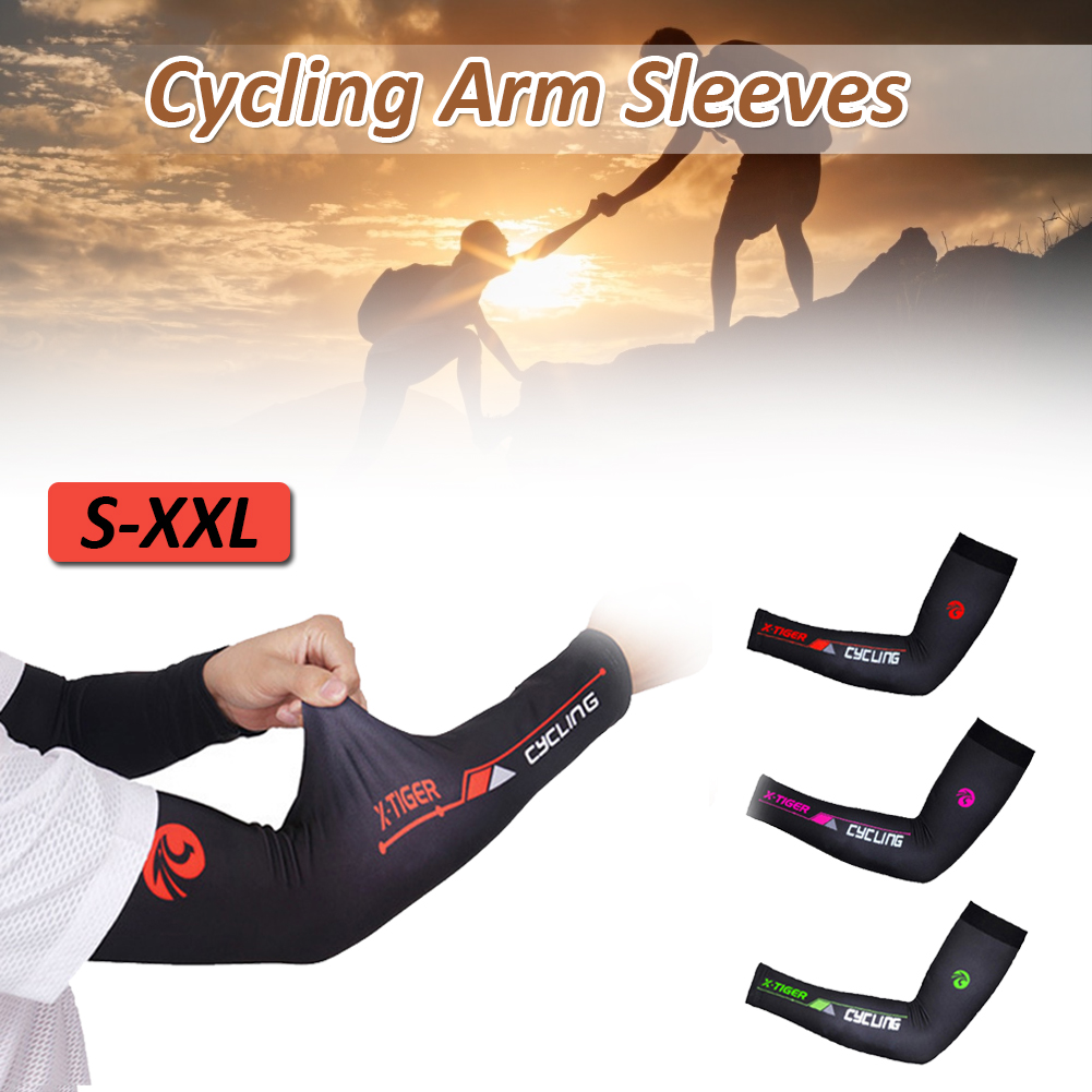 1Pair Arm Sleeve Cycling Sleeve UV Sun Protection Sunscreen Cycling Sleeves Ice Silk Breathable Running Cycling Leg Sleeves