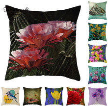Fuwatacchi Flower Bird Cushion Cover Colorful Floral Pillow Home Decorative Linen Case Office Sofa Throw pillowcase