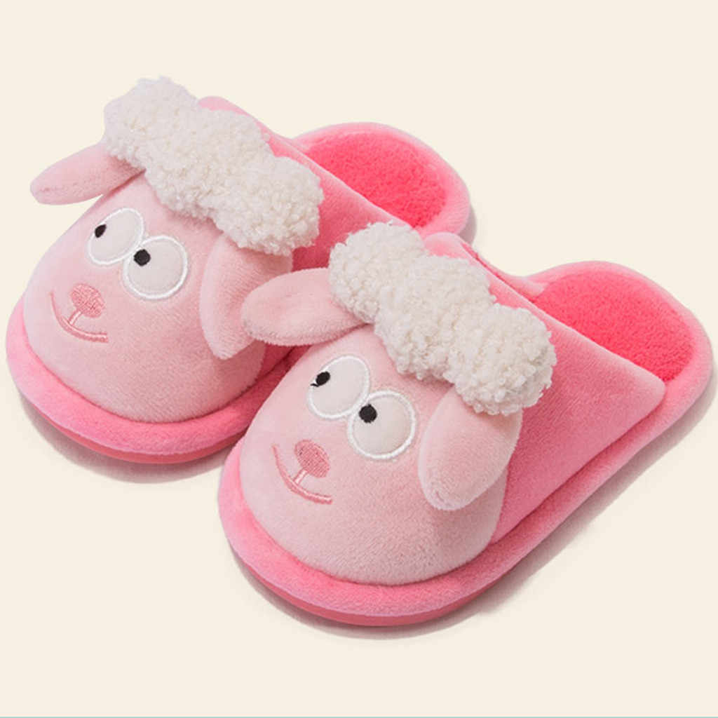 Toddler Slippers Kids Baby Girls Slippers Boys Cute Indoor Cartoon Flock Winter Warm Casual Home Shoes Hotel Slippers Тапочки