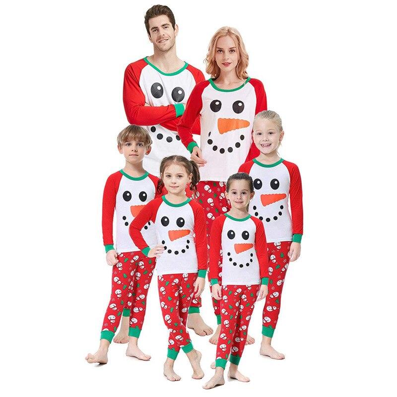 Noël Parent-enfant ensemble de vêtements 2020 hiver rouge joyeux noël pyjamas famille appariement adulte femmes enfants pyjamas