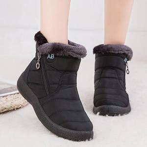 Snow-Boots Winter Shoes Female Waterproof Women Warm Plush Ankle Zip