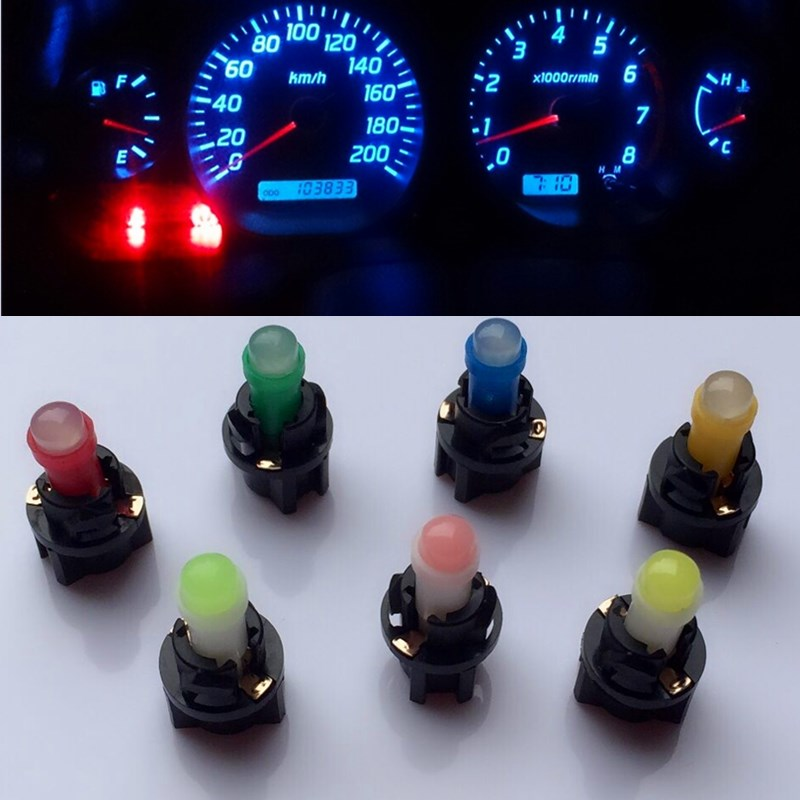 10PCS T5 T6.5 Led Bulb W1.2WCar Interior Lights Dashboard Heating Indicator Wedge Auto Instrument Lamp Air Conditioning Lamp12V