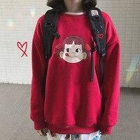 South Korea Popular Brand Peko Autumn And Winter Red Fujiya Soft Adorable Simple plus Velvet GIRL'S Versatile Loose Fit Hoodie