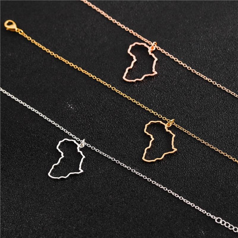 Afrique carte collier délicat creux or argent couleur carte pendentif mère carte tour de cou clavicule chaîne colliers pour femmes filles