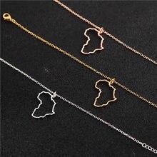 Afrika harita kolye Dainty Hollow altın gümüş renk harita kolye anakara harita gerdanlık klavikula zincir kolyeler kadınlar kızlar için
