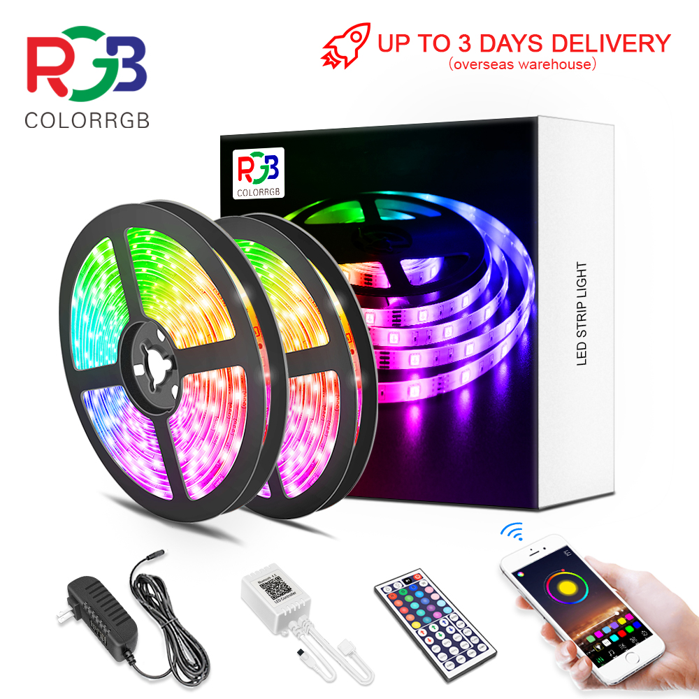 LED Strip Light RGB 5050 SMD2835 Flexible Ribbon DIY Led Light Strip RGB  Tape Diode DC 12V Phone app bluetooth