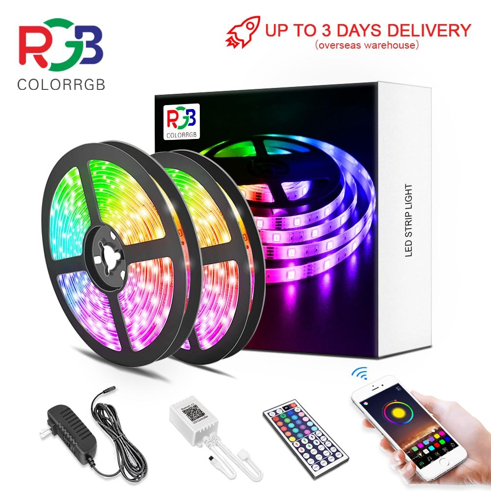 светодиодная лента, RGB 5050/SMD2835, гибкая лента, сделай сам, светодиодный светильник RGB ленты диод DC 12V с помощью приложения на телефоне bluetooth