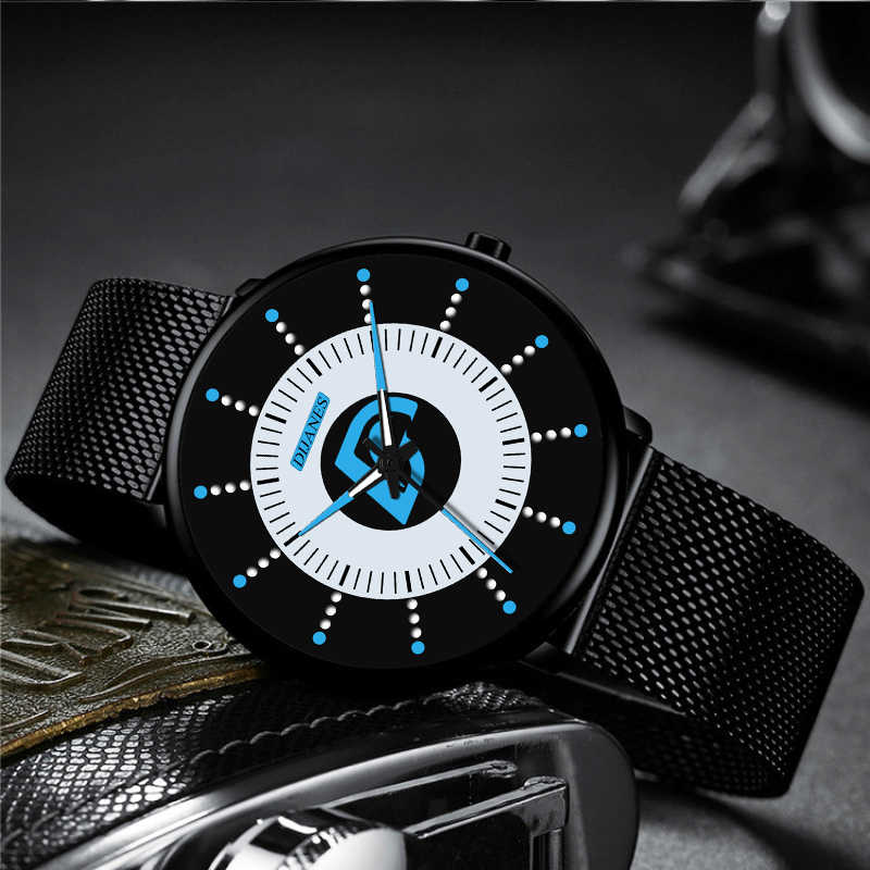 Minimalistische Mens Fashion Zwarte Klassieke Horloges Luxe Mannen Business Casual Quartz Horloge Mesh Riem Lichtgevende Klok Relogio Masculino
