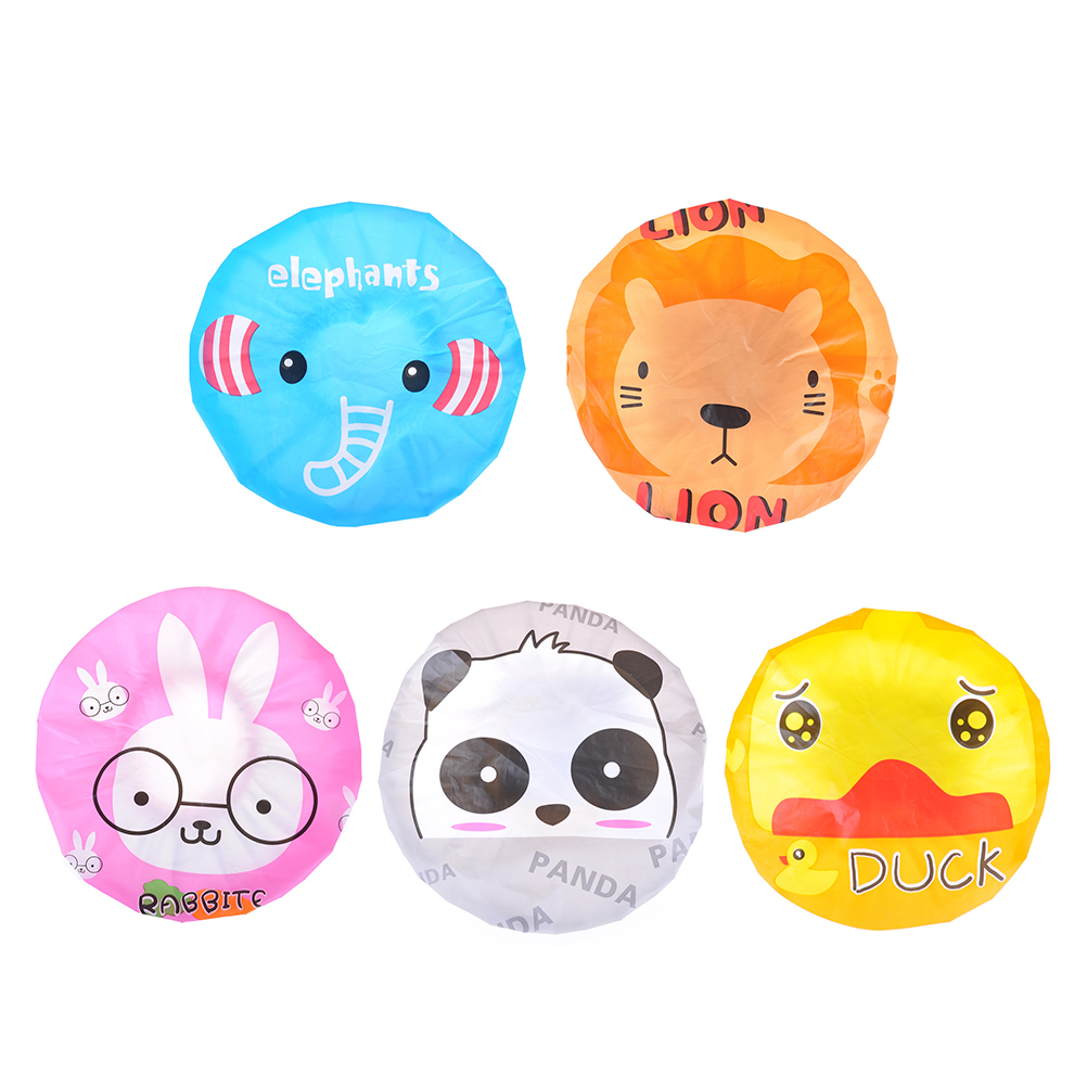 One Piece Cute Shower Cap Satin Waterproof Cartoon PVC Bathing Hat Lovely Practical Shower Hat For Children Kids Baby