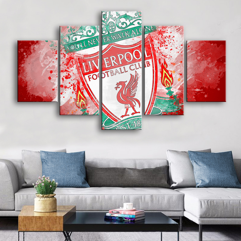 Watercolor 5 Pieces Wall Art Liverpool Posters Canvas Paintings Football Sports Print Kids Framed Pictures Home Decor