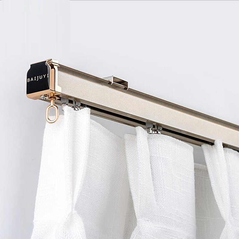 aluminum alloy curtain track curtain rod ceiling side installation single durable triple curtain accessories customized
