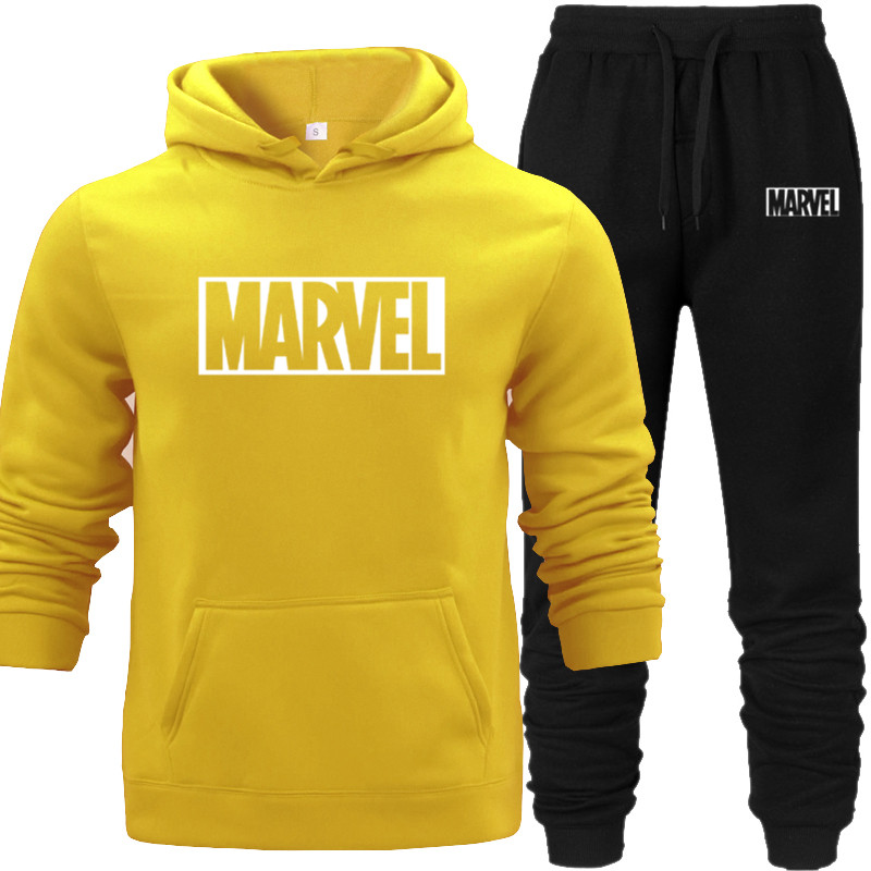 Hoodies+pants 2PCS Hooded Mens Hoodies and Sweatshirts for Autumn with Hip Hop Pocket Men Brand Marvel Hooded-hoodies
