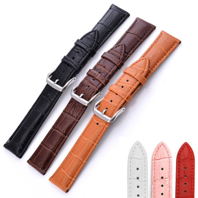 Watchbands Genuine Leather WatchBand Stainless Steel Buckle Clasp watch band leather strap 12,14, 16,18,19, 20,21,22,24mm