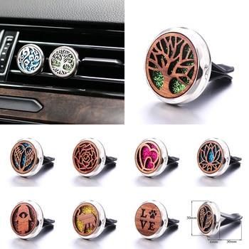 цена на Tree of Life Detachable Wooden Car Air Vent Freshener Car Perfume Diffuser Car Air Clip Essential Oil Aroma Locket 316L Pendant
