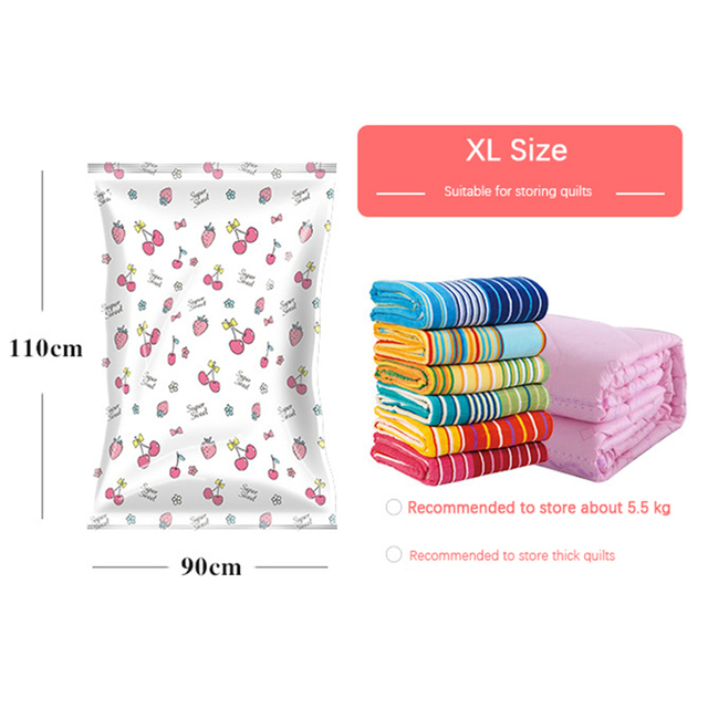Storage Bag Organizer Home Cherry Printing Foldable Clothes Quilt Organizer Seal Compressed travel Saving Space Bags Package