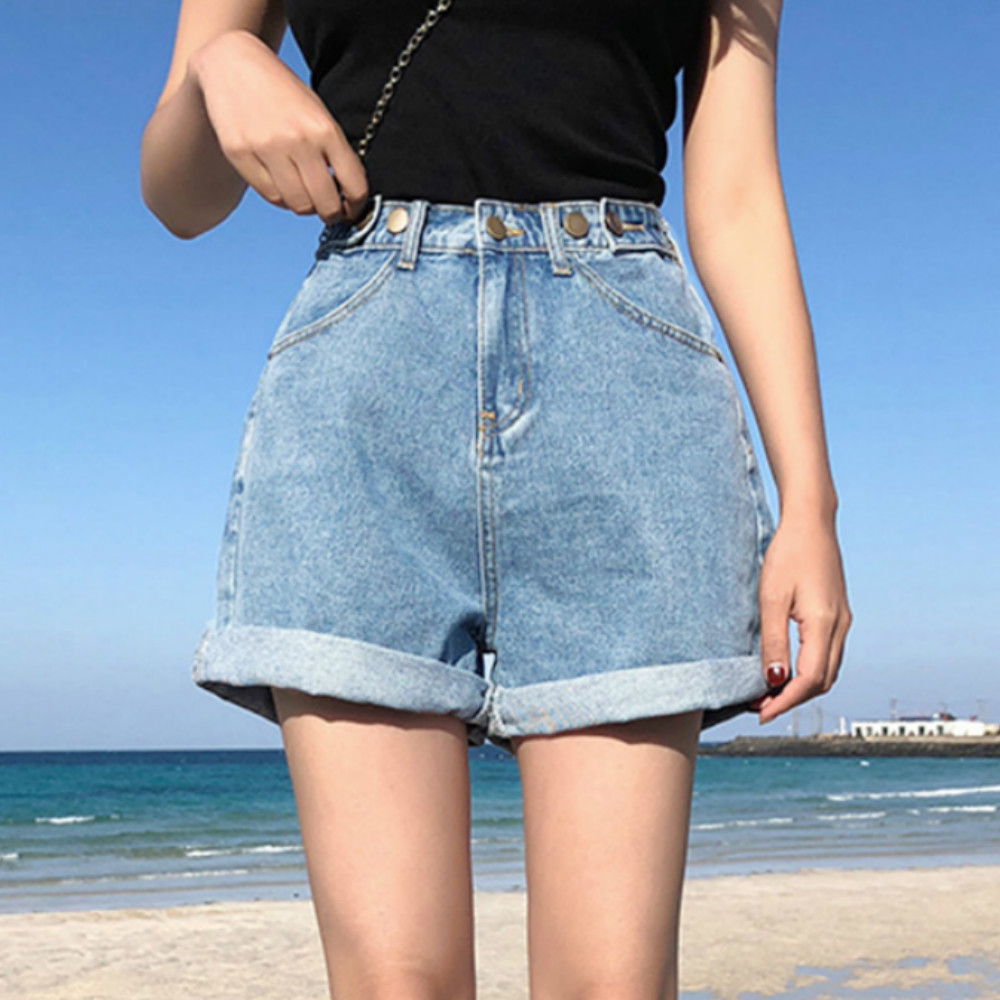 Vintage High Waist Blue Wide Leg Female Jean Shorts Women's Denim Shorts Classic Casual Summer Ladies Shorts Jeans For Women