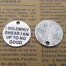100pcs Inspirational Words Charms 20mm x DIY Jewelry Making Pendant antique silver color