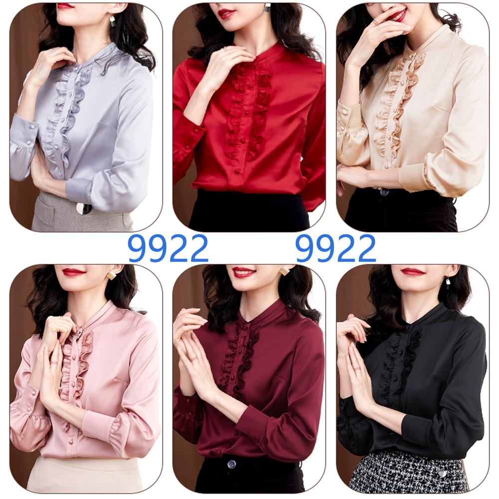 Women Blouses Ruffles Solid 2020 Elegant Fashion Long-sleeve Shirts Tops Female Satin Office OL Tops Shirt Women Casual Clothing