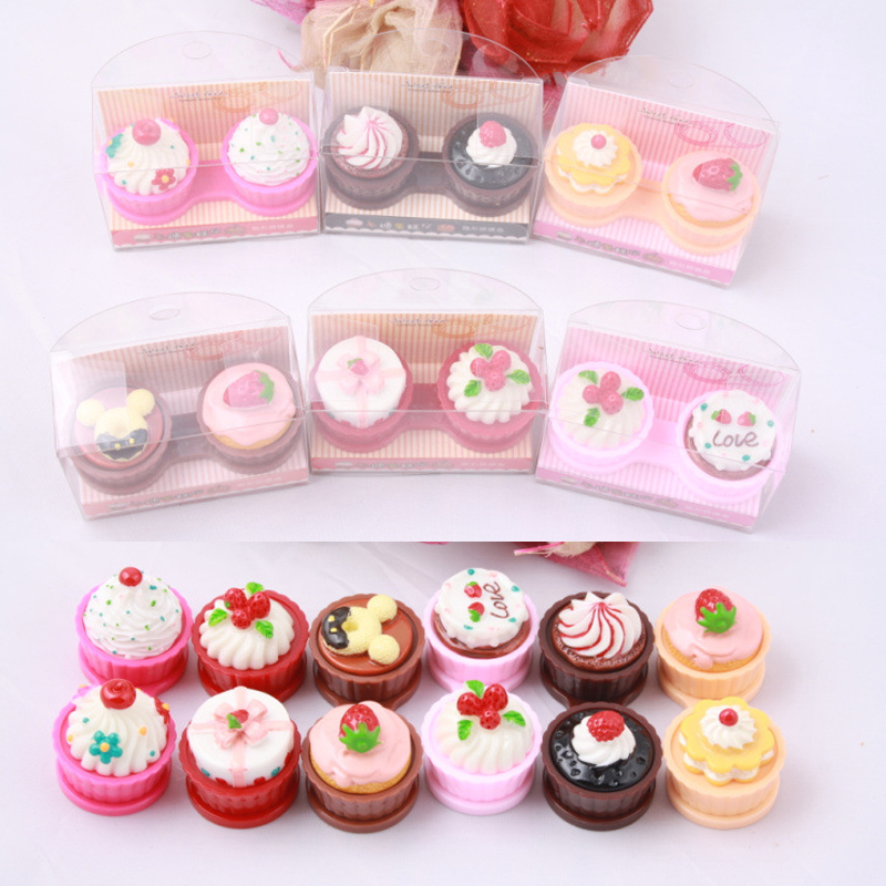 6 Color Cartoon Cute Cream Cake Glasses Double Contact Lenses Box Contact Lens Case For Eyes Care Kit Holder Container Gift