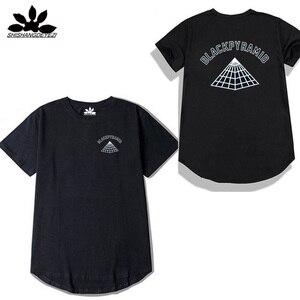 Новое поступление, высокая уличная футболка, Мужская черная Пирамида в стиле хип-хоп, футболки Криса коричневого цвета, брендовые хлопковые...