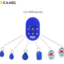 6 em 1 rfid múltiplo keyfob 125khz t5577 em gravável ic 13.56 mhz m1k s50 uid mutável cuid complexo chaveiro tag cartão