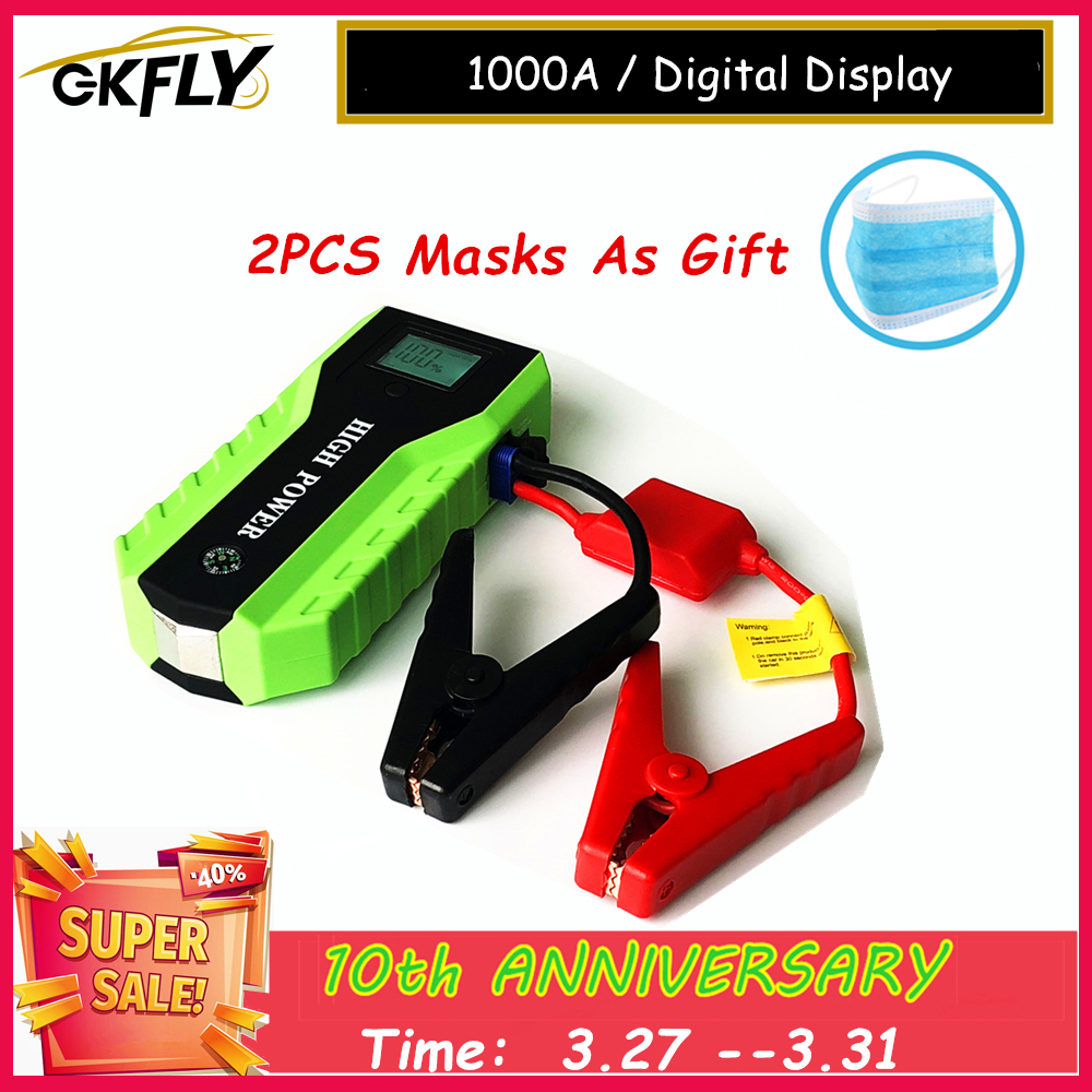 GKFLY Multifunction Jump Starter 1000A 12V Portable <font><b>Car</b></font> <font><b>Battery</b></font> Booster <font><b>Charger</b></font> Power Bank Emergency Starting Device <font><b>Cables</b></font> image