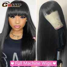 Wigs Bangs Human-Hair Gossip Brazilian Black Full-Machine Straight Women with for Made-Wig