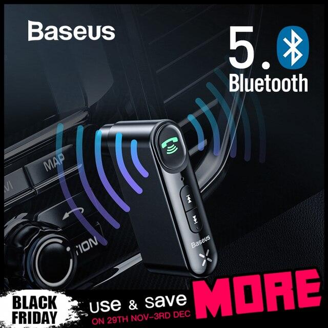 Baseus voiture Aux Bluetooth 5.0 adaptateur sans fil 3.5mm récepteur Audio pour Auto Bluetooth Kit mains libres voiture haut-parleur casque