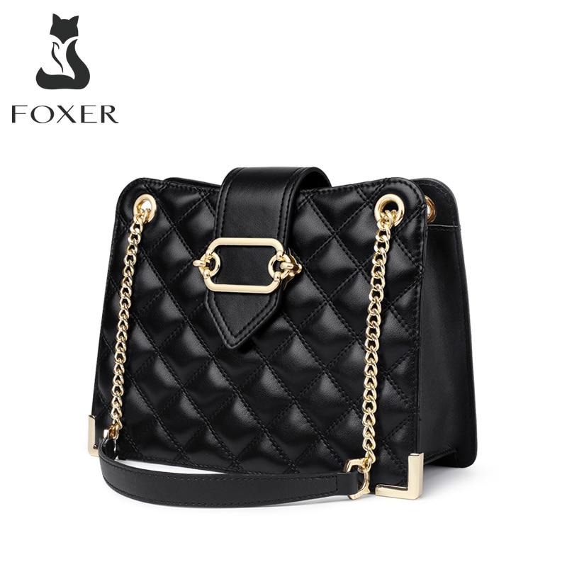 FOXER Lady Diamond Lattice Design Cowhide Fashion Totes Women Shoulder Purse Commute Style Lady High Capacity Handbag Female Bag