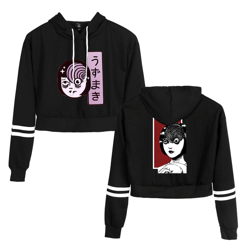 Junji Ito Printed Cool Fashion Streetwear Women Pullovers Navel Hoodies Sweatshirt Cool Lumbar Popular 2019 New Fashion Hoodies