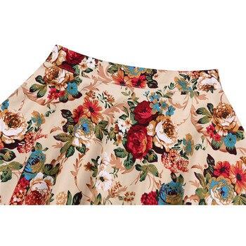 2020 Elegant Women Pleated Office Midi Skirts Aline Steampunk Gothic Female 50s 60s A line Ladies Skirt High Waist fashion skirt 5