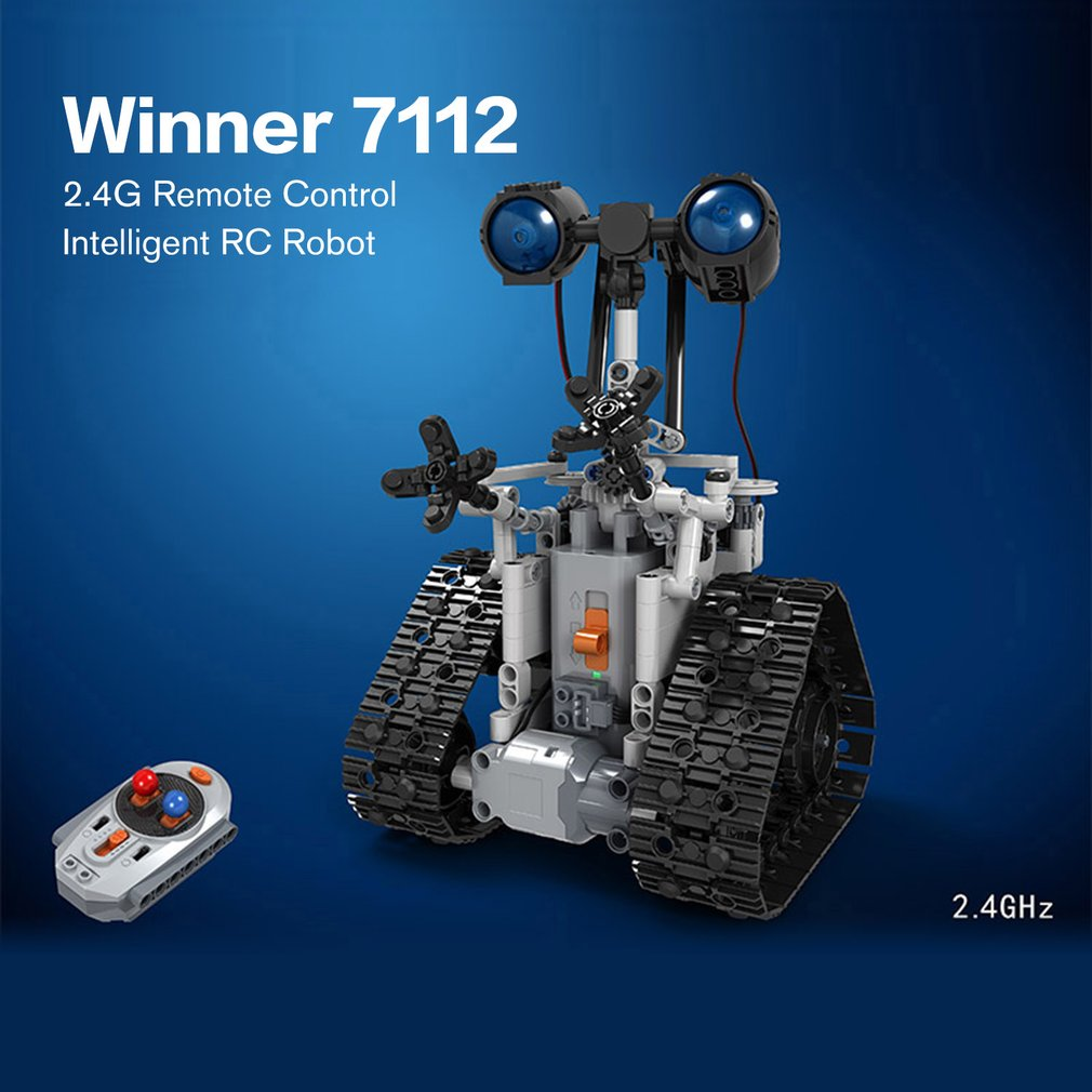 Winner 7112 Technic City Remote Control RC Bulldozer Electric Designer Building Blocks Engineering 408pcs Toys For Childrn